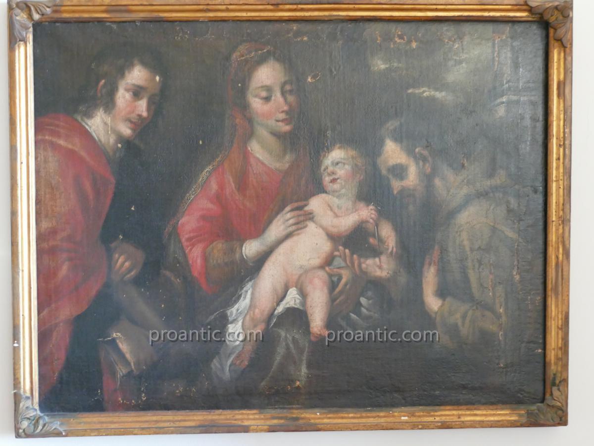 Vierge à l'Enfant Entourée De Deux Saints, Ecole espagnole