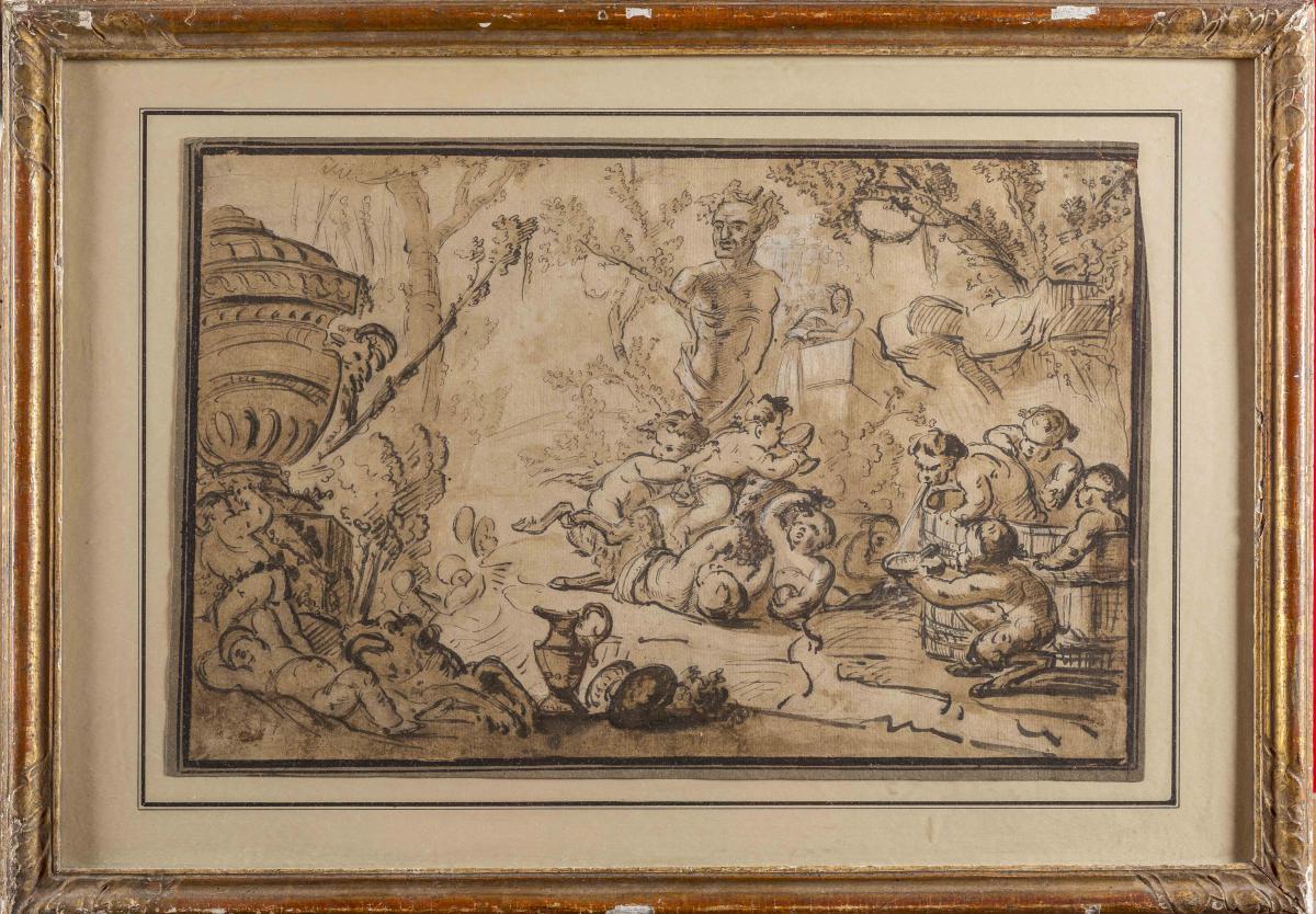 """""""bacchanal"""" Drawing From Louis-felix De La Rue, 1760"""