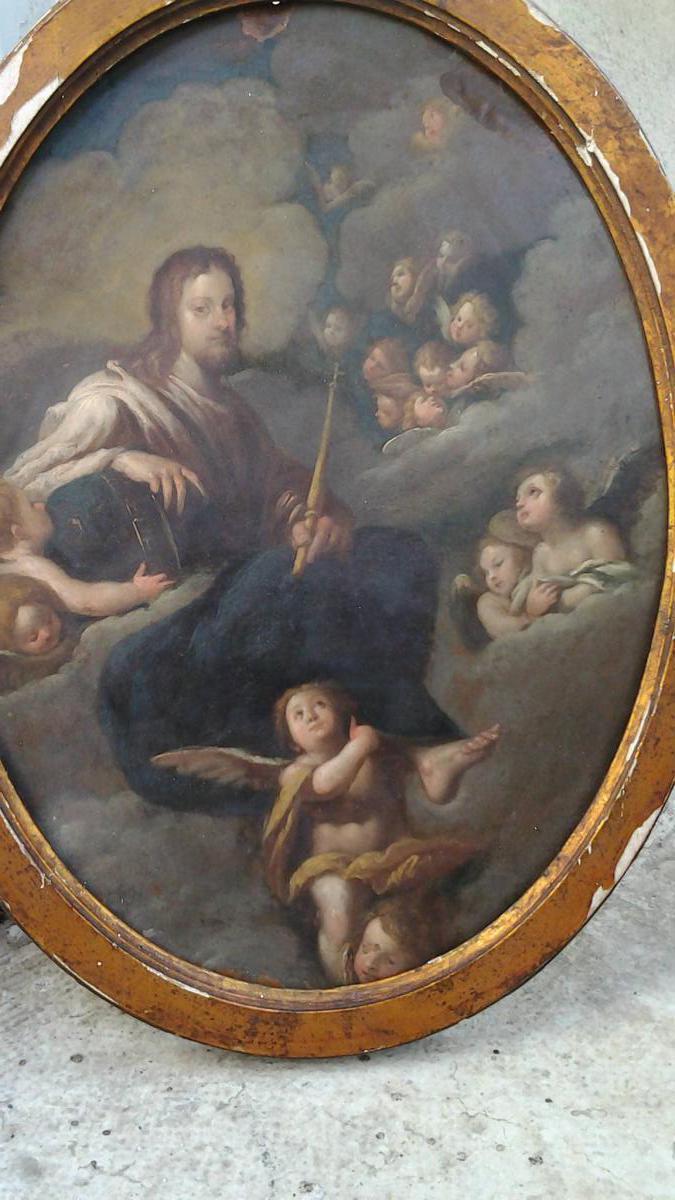 Christ En Gloire Assis Sur Des Nuées