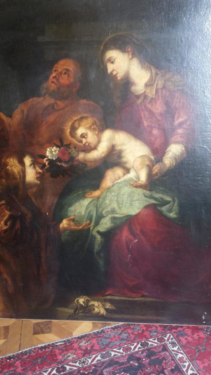 Gaspard De Crayer (anvers,1584 - Gand, 1669) - Attribué à - Vierge Et l'Enfant Avec Deux Saints