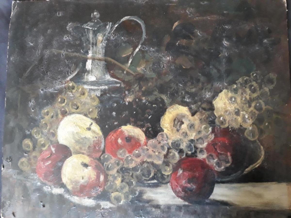 Still Life With Apples And Grapes, François Vernay (1821-1896)