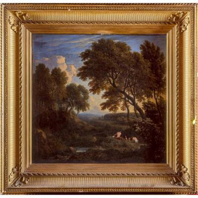 Paysage dans la campagne romaine, Ecole française vers 1840