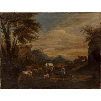 Shepherd And Its Herd, Italian School Of XVII Century