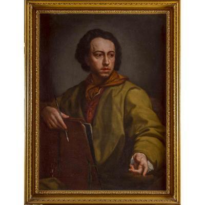 Autoportrait d'Un Peintre, Ecole romaine Du XVIII° Siècle