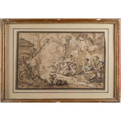 """""""Bacchanale"""", Dessin de Louis-Félix de La Rue, vers 1760"""