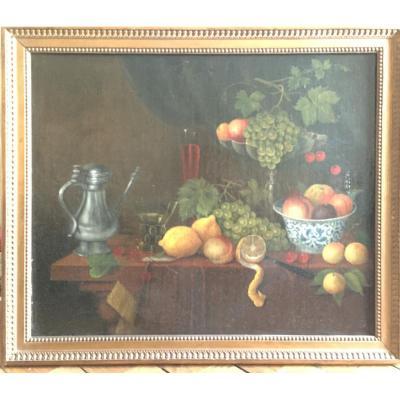 Nature Morte Aux Fruits, Une Aiguière Et Deux Verres, Ecole Flamande Du XVII° Siècle