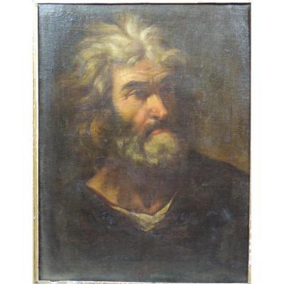 Tête d'Homme, Ecole Romaine Vers 1700