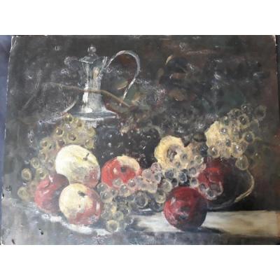 Nature Morte Aux Pommes Et Raisins, dans le goût de  François Vernay (1821-1896),