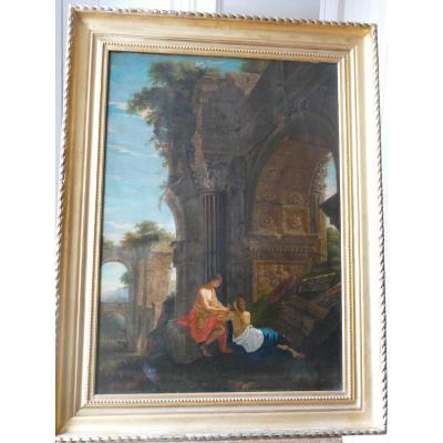 Jean Lemaire (1601-1659), Paysage De Ruines Au Crépuscule- Avec l'Histoire De Crocus Et Smilax.