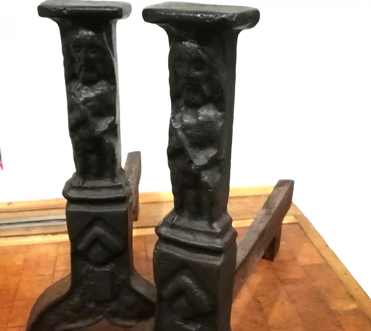 Pair Of Iron Cast Iron Andirons, Late 15th, Haute Epoque
