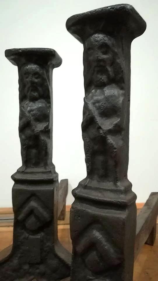 Pair Of Iron Cast Iron Andirons, Late 15th, Haute Epoque-photo-3