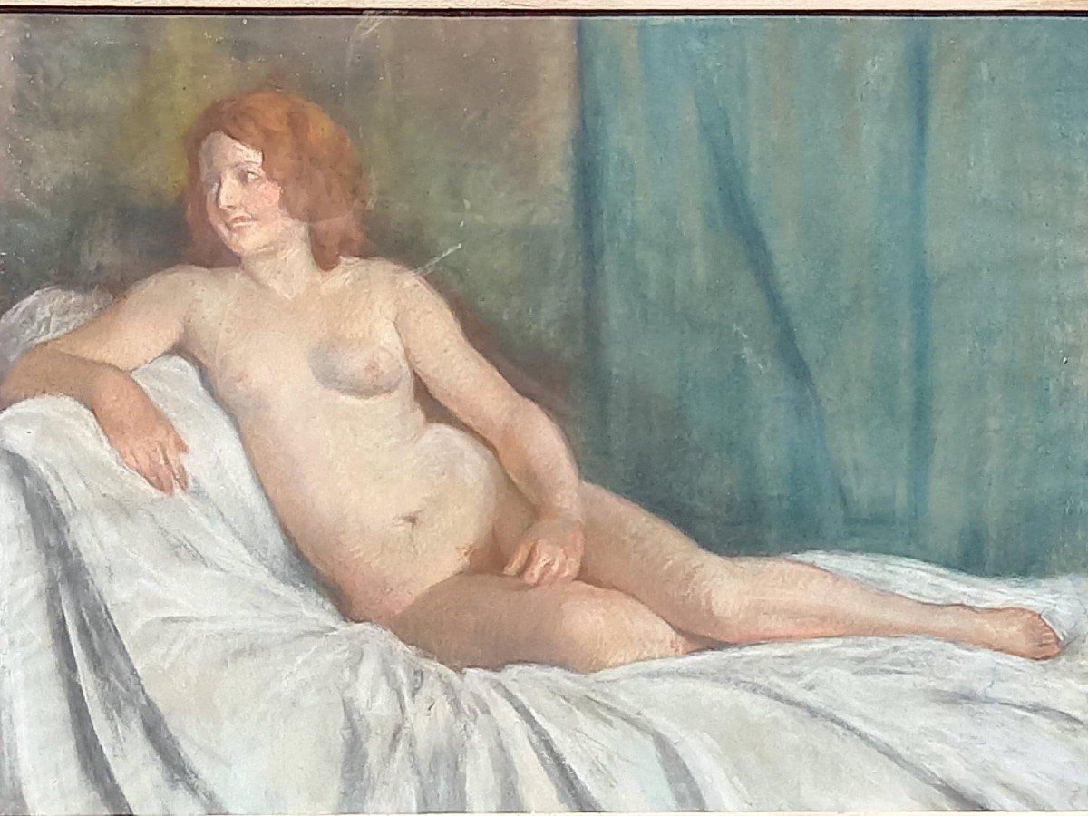 Jules Albert Mignon (né En 1875) (attribué à) « Nu Souriant »  Pastel