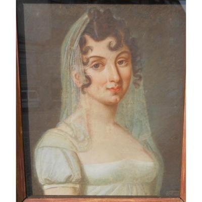 """Pastel """"portrait De Femme Au Fichu"""" Vers 1800"""