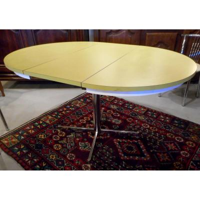 1970s Design Table, Chromed Metal Stand