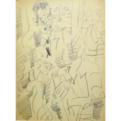 """Gen Paul (1895-1975) """"homme Assis à La Cigarette"""", Dessin"""