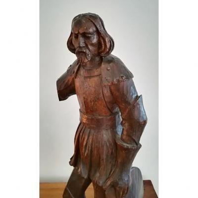 """Bois Sculpté Du XVIe Siècle. """" Soldat Ou Saint Soldat"""""""