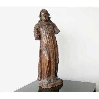 """""""saint Abbé"""" Bois Sculpté XVIII / XIXe"""