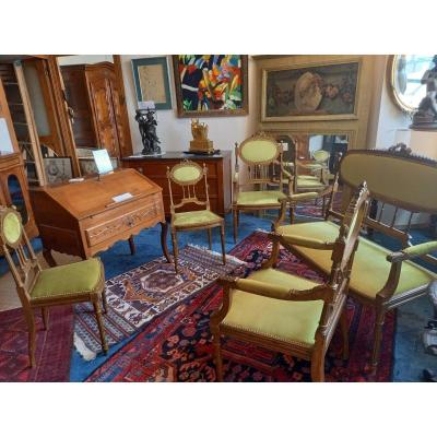 Salon Hêtre Patiné, époque 1900. Garniture Tissu état Neuf.