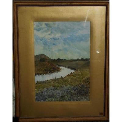 """Alphonse REY  1865-1938 : Aquarelle """"Paysage à la rivière"""""""