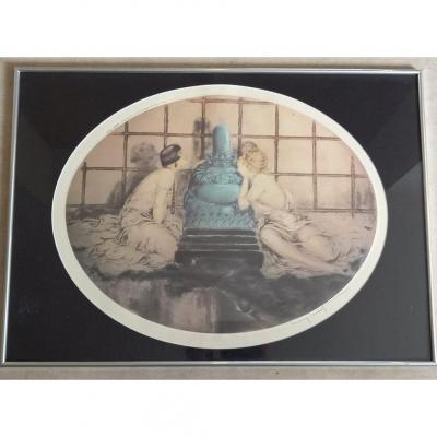 Louis Icart (1888-1950) « Deux Femmes Autour D'un Bouddha Bleu » Aquatinte Ovale En Couleur