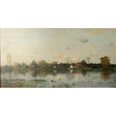 "Adrien Jacques Sauzay (1841-1928) ""the Pond Near The Hamlet"" Oil On Panel"