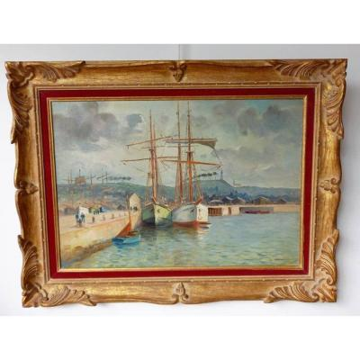 """Yvonne Blossier (1897 1947) """"presumed View Of The Port Of Paimpol"""" Oil On Canvas"""
