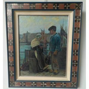 "Breton School Mid-twentieth, Oil On Panel ""couple On The Quay Of A Fishing Port"""