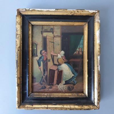 Oil On Copper Painting, Folk Art