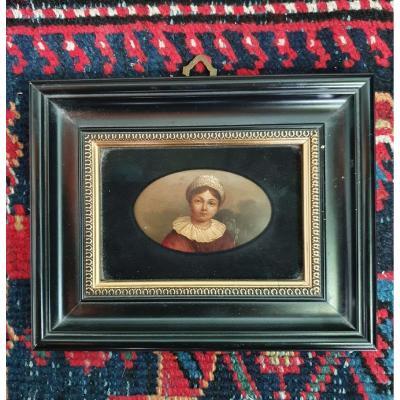 Portrait Miniature d'Une Jeune Fille, XIXe