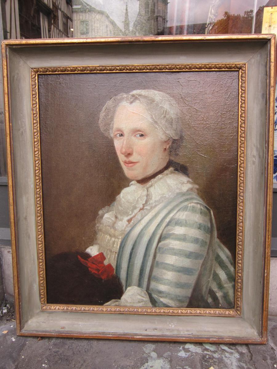 Huile Sur Toile , Portrait De Femme XVIII Eme
