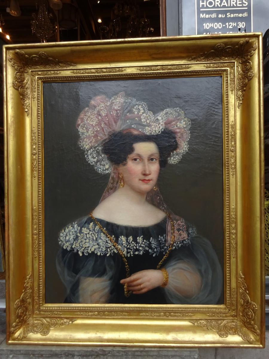 Hst  Portrait De Femme Vers 1830