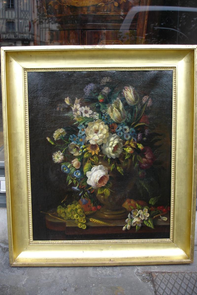 """Huile Sur Toile """"fleurs Sur Un Entablement """""""