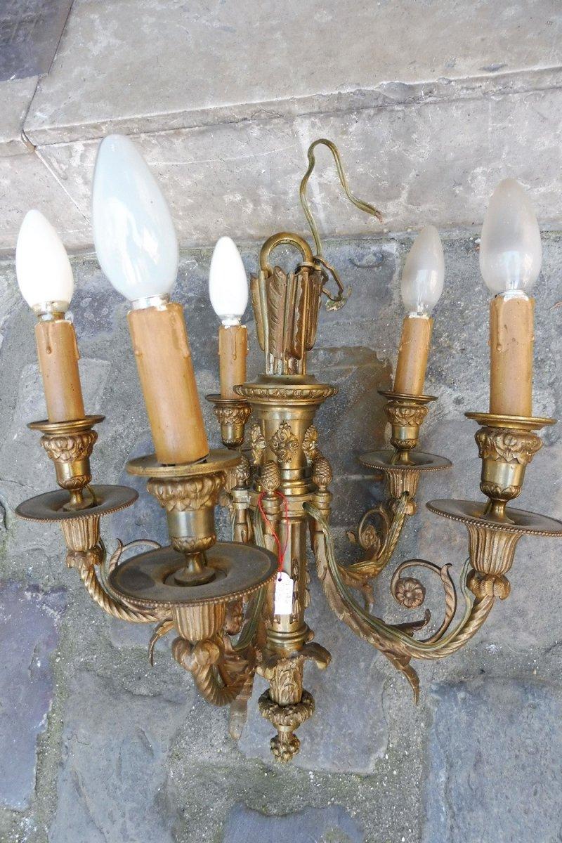 Lustre  En Bronze   à Cinq  Lumières De Style  Louis XVI