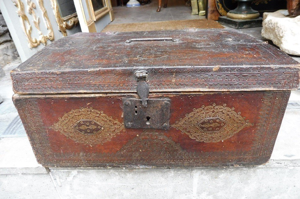 Gold Leather Chest 17 Century