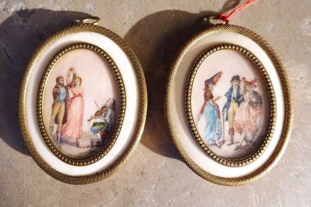 Paire De Miniatures  Sur Ivoire  19 Eme