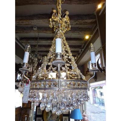 Lustre à Monture En Bronze Argenté Et Garniture En Cristal
