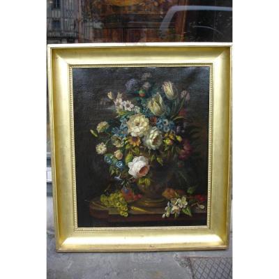 "Oil On Canvas ""flowers On An Entablature"""
