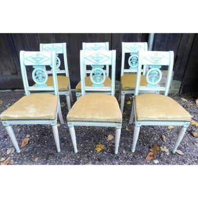 Suite Of Six Directoire Relaquered Chairs