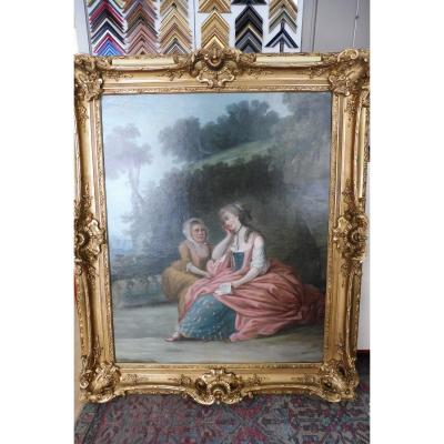 Important Oil On Canvas Of The French School Of The 18th Century In A Style Frame