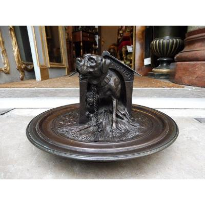 Bronze Inkwell Signed Jules Moigniez In The Shape Of A Dog Kennel