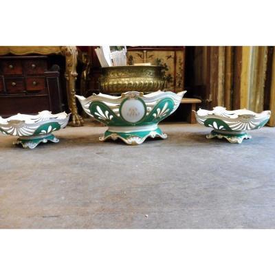 Garniture En   Porcelaine  De Paris  19 Eme