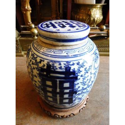 Pot  à Gingembre , Porcelaine De Chine époque Tong Tche