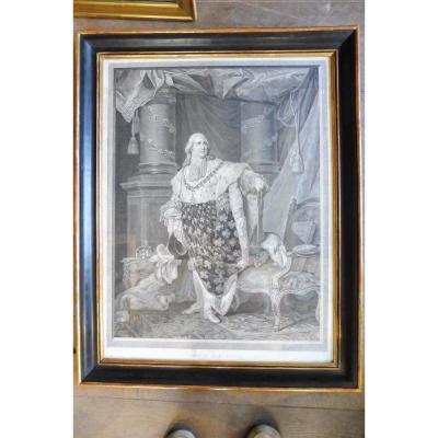Gravure  Représentant  Louis XVIII  en tenue  de sacre