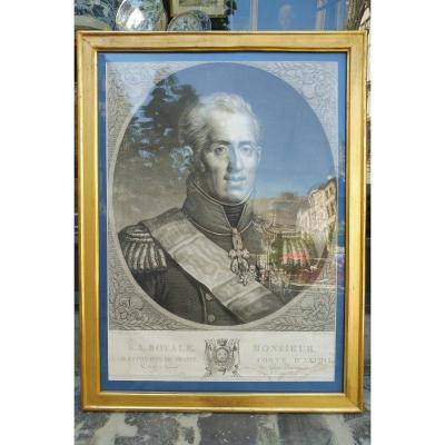 Gravure   Représentant  Le Comte d'Artois  , 19 Eme