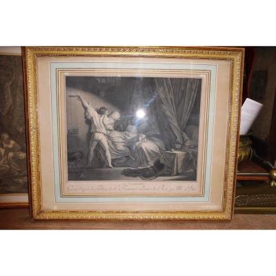 """gravure  d'après  Fragonard  """"le verrou""""  18 eme"""