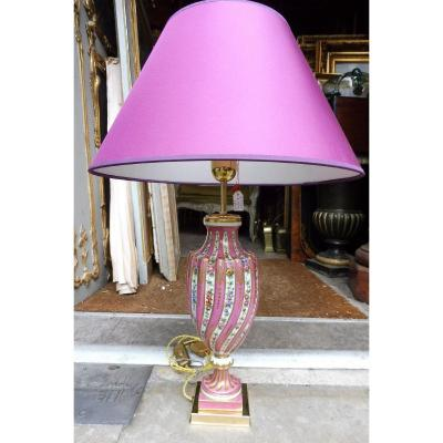 Pied  De Lampe  En Porcelaine De Paris