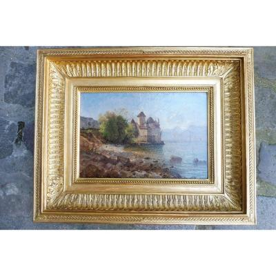 """Oil on paper of the French school circa 1860 , vue ok the lake of genava and chateau Chillon """" , presented in his original gilded frame ."""