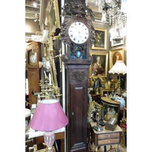 Horloge De Parquet  Dite  Saint Nicolas En Chêne Sculpté