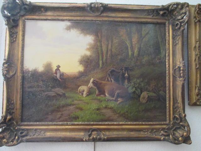 """Lartigau Louis """" Paysage avec vaches  """" Hst   XIX°-XX°"""