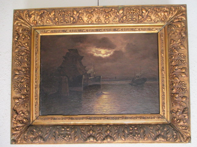 """Lartigau Louis """" Marine au crépuscule """" Hst   XIX°-xx°"""